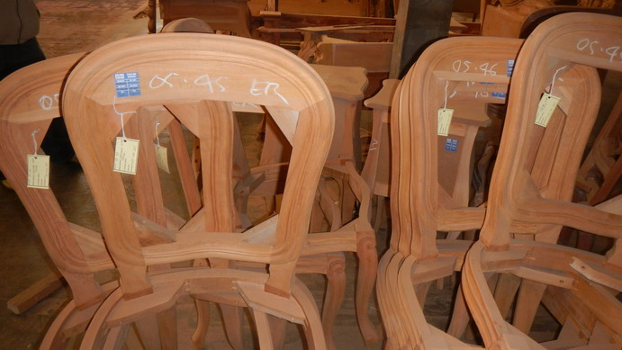 Teak furniture ready for finishing